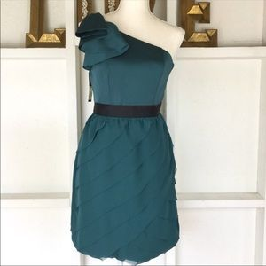 Lauren Conrad Teal Ruffle One Shoulder Dress 2